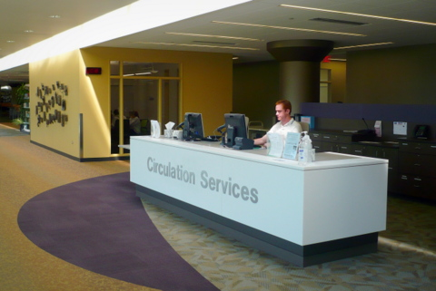 Upper level circulation desk