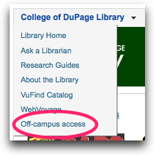 Off campus access link