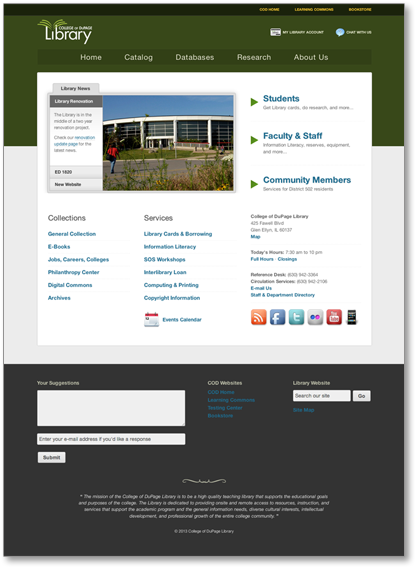 Screen shot of the new Library website